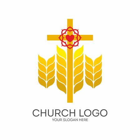 Church logo. Christian symbols. Cross and ripe wheat.