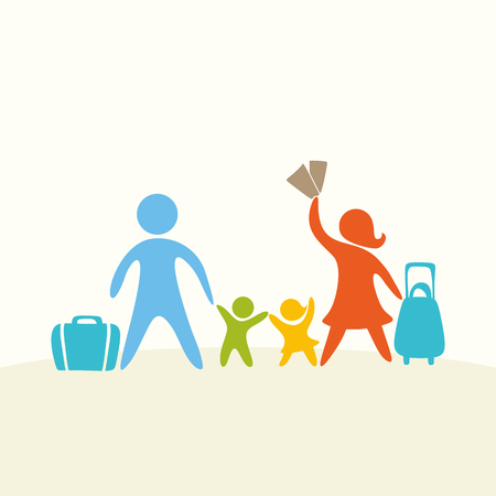 family holiday: A happy family. Multicolored figures, loving family members. The family goes on holiday, on vacation. Illustration