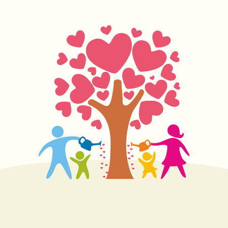 A happy family. Multicolored figures, loving family members. Family watering the tree of love.