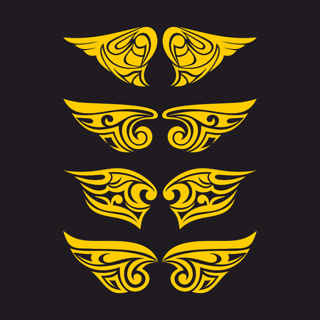 psalm: Gothic and tattoo marks. Christian symbols. The wings of the Holy Spirit.