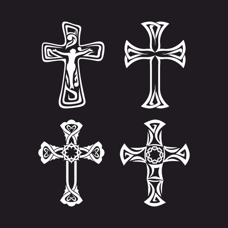 cross tattoo: Set of crosses. Christian symbols. Religious signs.