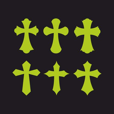 Set of crosses. Christian symbols. Religious signs.