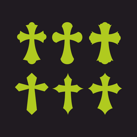crosses: Set of crosses. Christian symbols. Religious signs.
