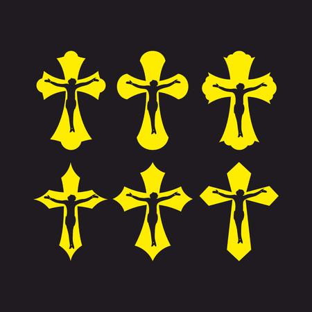 christian crosses: Set of crosses. Christian symbols. Religious signs.