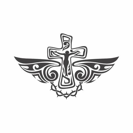 gótico y marcas de tatuaje. símbolos cristianos. Cruz y Espíritu Santo alas.
