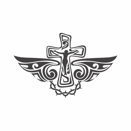 cross and wings: Gothic and tattoo marks. Christian symbols. Cross and Holy Spirit wings.