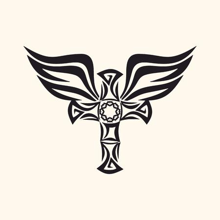 gótico y marcas de tatuaje. símbolos cristianos. Cruz y Espíritu Santo alas. Ilustración de vector