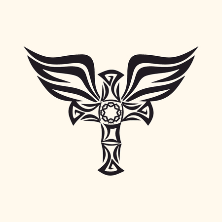 Gothic and tattoo marks. Christian symbols. Cross and Holy Spirit wings. Vector Illustration