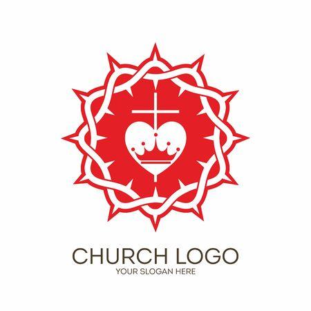 evangelism: Church logo. Christian symbols. Crown of thorns, cross and heart.