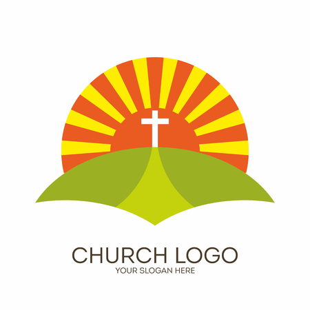 Church logo. Christian symbols. Bible, sun and cross.