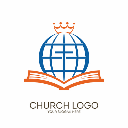 Church logo. Christian symbols. Bible, cross, globe and crown.