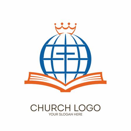 Kerk logo. Christelijke symbolen. Bijbel, kruis, wereldbol en de kroon.