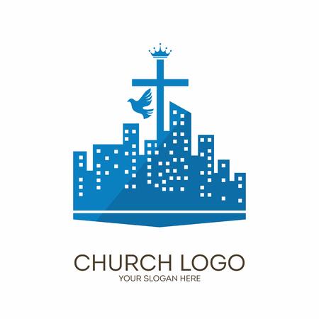 Church logo. Christian symbols. Cross, city and dove.