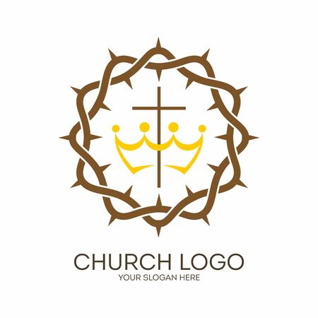 Church logo. Christian symbols. Crown of thorns and cross. Illustration
