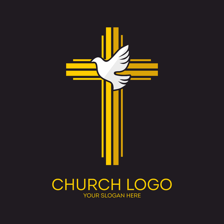 Church logo. Christian symbols. Jesus cross and dove - the Holy Spirit.