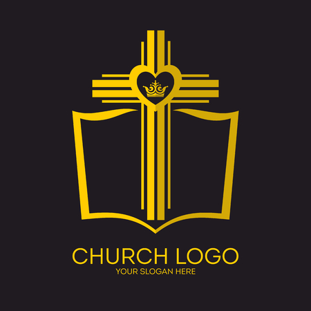 Church logo. Christian symbols. Bible, cross of Jesus and crown.