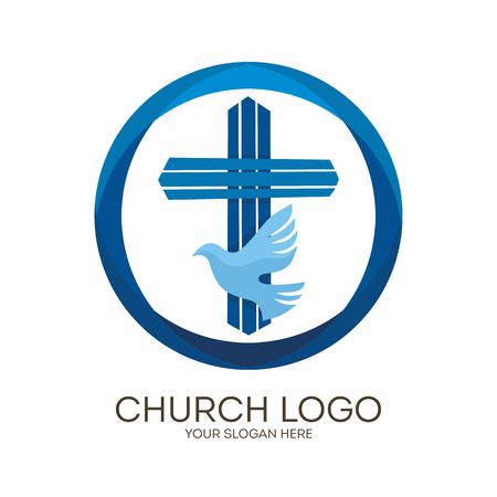 Church logo. Christian symbols. Jesus' cross and dove - the Holy Spirit.
