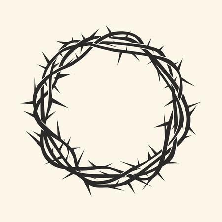 Church logo. Christian symbols. Crown of thorns. Vettoriali