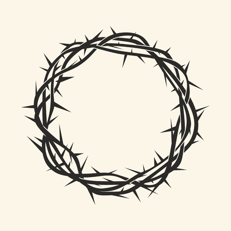 Church logo. Christian symbols. Crown of thorns. Çizim