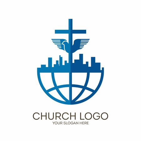 Church logo. Christian symbols. City, Globe, Jesus' cross and dove - the Holy Spirit.