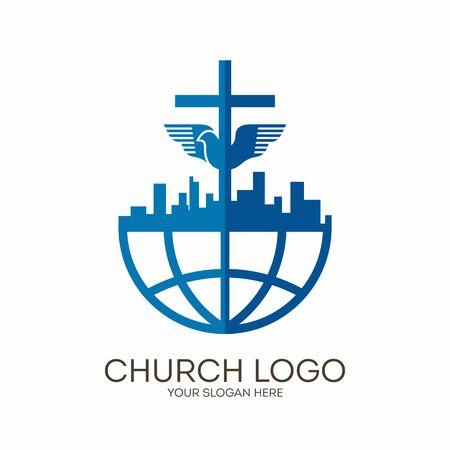 Church logo. Christian symbols. City, Globe, Jesus' cross and dove - the Holy Spirit.