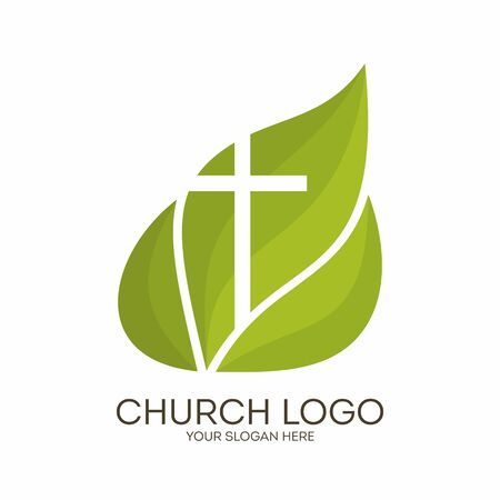 Church logo. Christian symbols. Cross on a background of green leaves