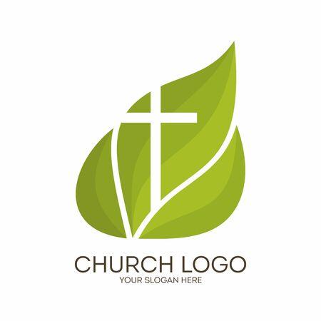 iglesia: Logo de la iglesia. Símbolos cristianos. Cruz sobre un fondo de hojas verdes