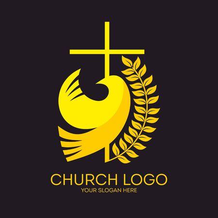 Church logo. Christian symbols. Dove and cross. Ilustração