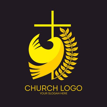 Church logo. Christian symbols. Dove and cross. Illustration