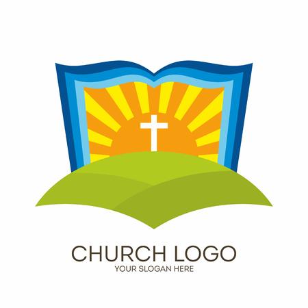 evangelism: Church logo. Christian symbols. Bible, sun and cross.