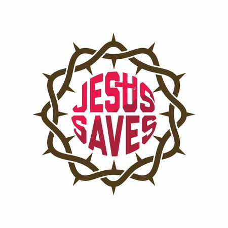 Church logo. Christian symbols. Crown of thorns. Ilustração