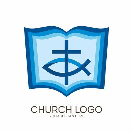 Kirchenlogo. Christliche Symbole. Bibel, Kreuz und Jesus Fisch.