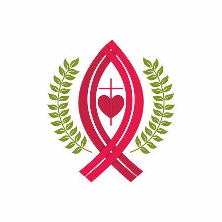 Kirchenlogo. Christliche Symbole. Kreuz, Jesus Fisch und Herz.