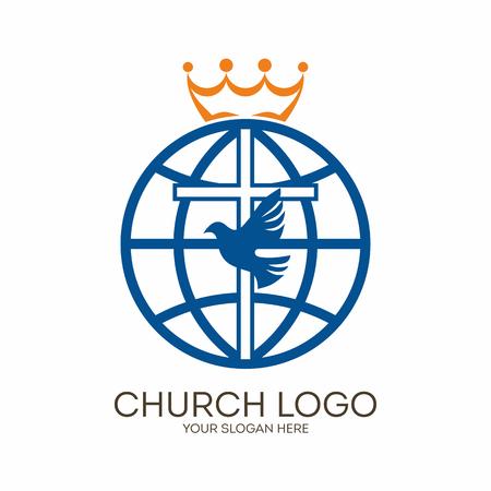 Church logo. Christian symbols. Cross, dove and globe.