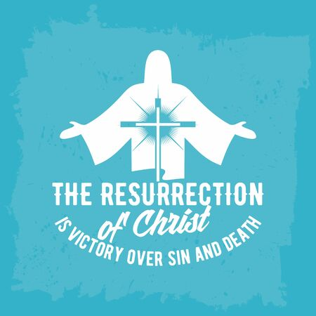 sin: Bible lettering. Christian art. The resurrection of Christ is victory over sin and death.