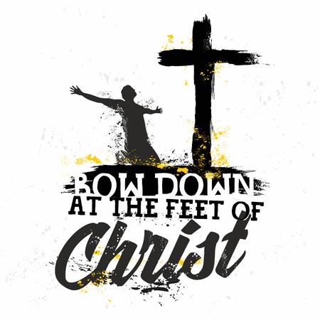 聖書の文字。キリスト教の芸術。キリストの足元にひれ伏し。