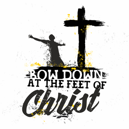 biblical: Bible lettering. Christian art. Bow down at the feet of Christ.