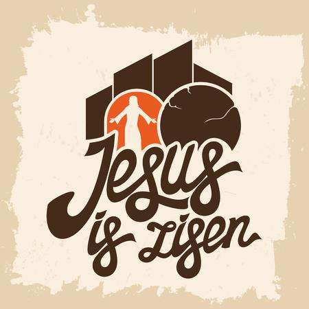 evangelism: Bible lettering. Christian art. Jesus is risen. Illustration