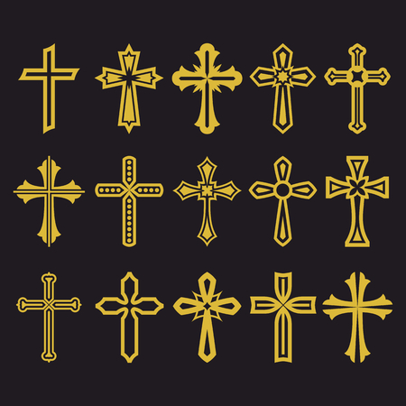 Big set of vector cross, collection of design elements for creating. Christian symbols. Ilustração