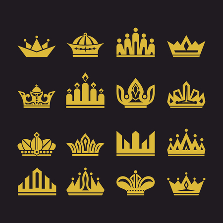 Big set of vector crowns, collection of design elements for creating. Illustration