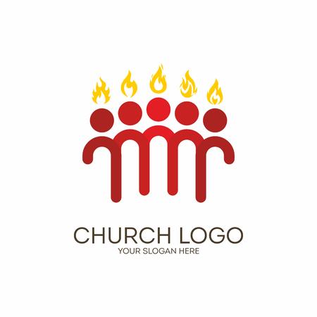 pentecost: Church. Christian symbols. Pentecost, the apostles, flames.
