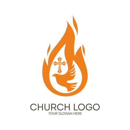 Kerk. Christelijke symbolen. Dove, de vlam van de Heilige Geest en het kruis van Jezus