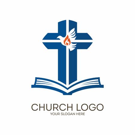Church. Christian symbols. Bible, cross and Holy Spirit, dove.
