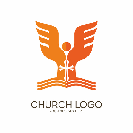 scripture: Church. Christian symbols. Scripture, the angel and the cross of Jesus. Illustration