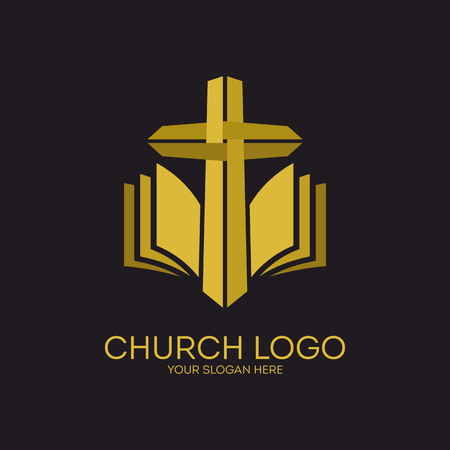 gold cross: Church. Christian symbols. Gold cross and Holy bible. Illustration