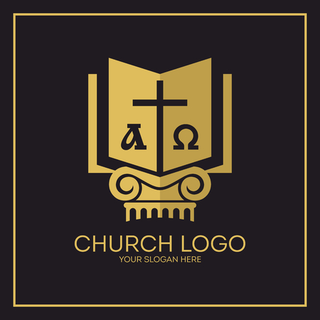 Church. Christian symbols. Holy bible, cross, alpha and omega.