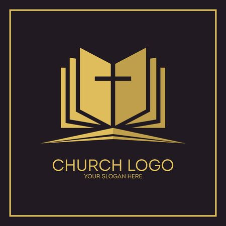 psalm: Church. Christian symbols. Holy bible and Jesus cross. Illustration
