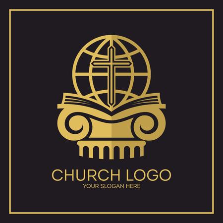 Church. Christian symbols. Holy bible, globe and Jesus cross.