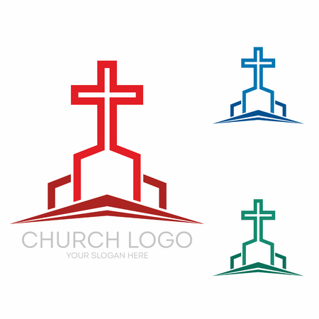 Christian symbols. Stylish cross of Jesus Christ among graphic vector elements.