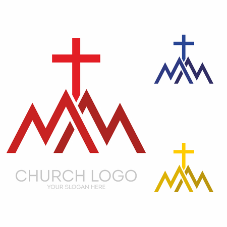 Christian symbols. Triangles, mountains, the cross of Jesus.